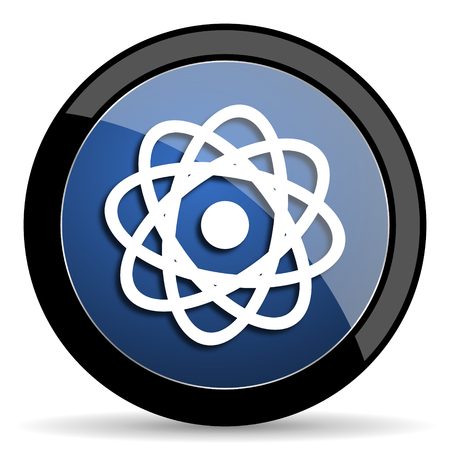 gamma radiation: atom blue circle glossy web icon on white background, round button for internet and mobile app Stock Photo