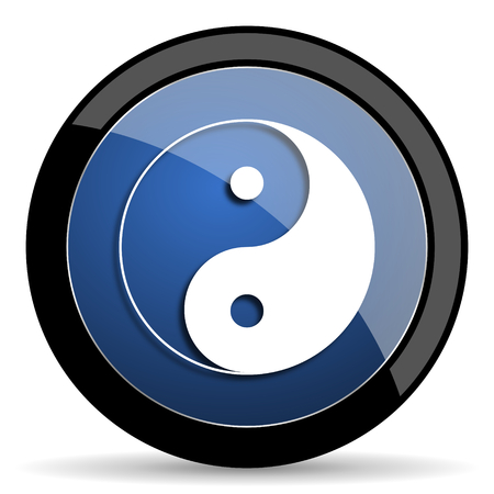ying and yang: ying yang blue circle glossy web icon on white background, round button for internet and mobile app Stock Photo