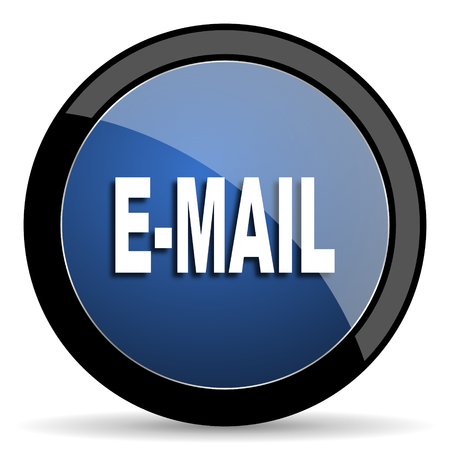 secretariat: email blue circle glossy web icon on white background, round button for internet and mobile app