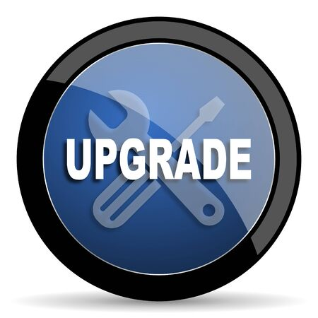 refreshed: upgrade blue circle glossy web icon on white background, round button for internet and mobile app Stock Photo