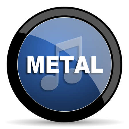 metal music: metal music blue circle glossy web icon on white background, round button for internet and mobile app Stock Photo