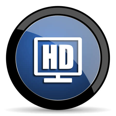 programm: hd display blue circle glossy web icon on white background, round button for internet and mobile app