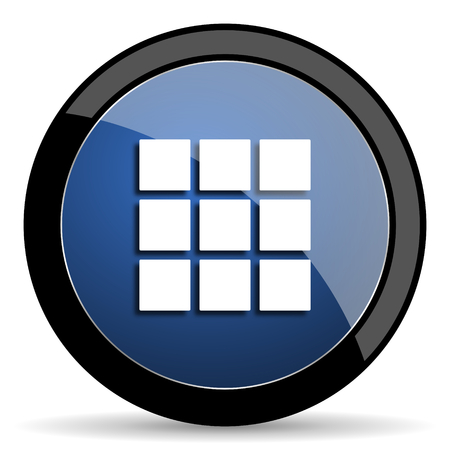thumbnails: thumbnails grid blue circle glossy web icon on white background, round button for internet and mobile app