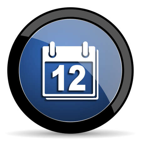 appointment book: calendar blue circle glossy web icon on white background, round button for internet and mobile app