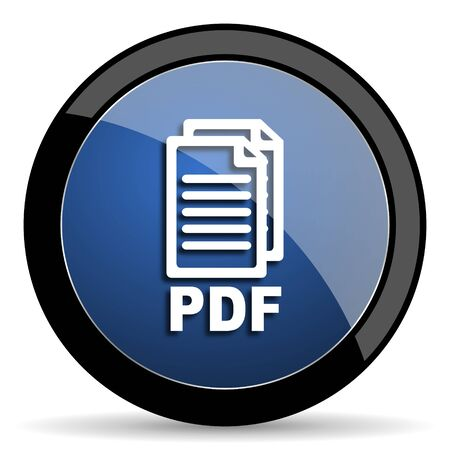 bibliography: pdf blue circle glossy web icon on white background, round button for internet and mobile app,