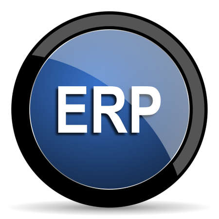 erp: erp blue circle glossy web icon on white background, round button for internet and mobile app Stock Photo