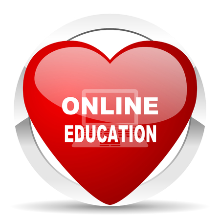 online education: online education red red heart valentine icon on white background Stock Photo