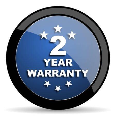 web 2: warranty guarantee 2 year blue circle glossy web icon on white background, round button for internet and mobile app
