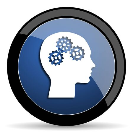 intellect: head blue circle glossy web icon on white background, round button for internet and mobile app