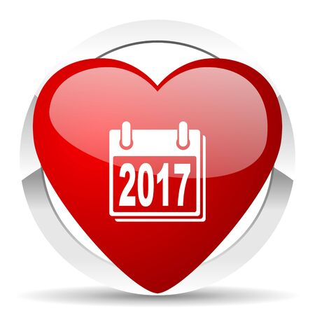 next year: new year 2017 red red heart valentine icon on white background