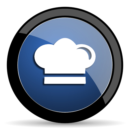 dinner wear: cook blue circle glossy web icon on white background, round button for internet and mobile app Stock Photo