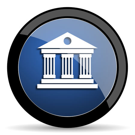 acropolis: museum blue circle glossy web icon on white background, round button for internet and mobile app