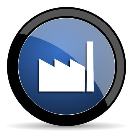 industrial complex: factory blue circle glossy web icon on white background, round button for internet and mobile app Stock Photo