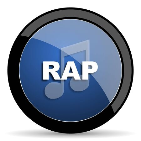 rap music: rap music blue circle glossy web icon on white background, round button for internet and mobile app Stock Photo