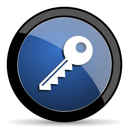 closure: key blue circle glossy web icon on white background, round button for internet and mobile app