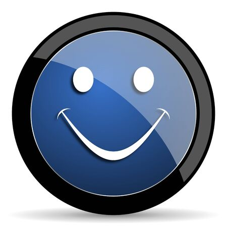 yea: smile blue circle glossy web icon on white background, round button for internet and mobile app
