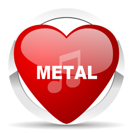 metal music: metal music red red heart valentine icon on white background