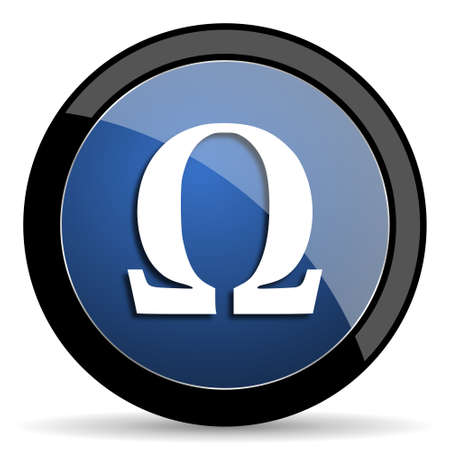 antioxidant: omega blue circle glossy web icon on white background, round button for internet and mobile app