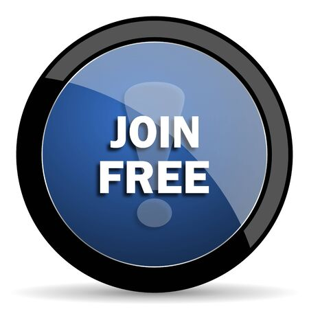 join here: join free blue circle glossy web icon on white background, round button for internet and mobile app Stock Photo