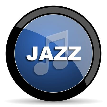 genre: jazz music blue circle glossy web icon on white background, round button for internet and mobile app