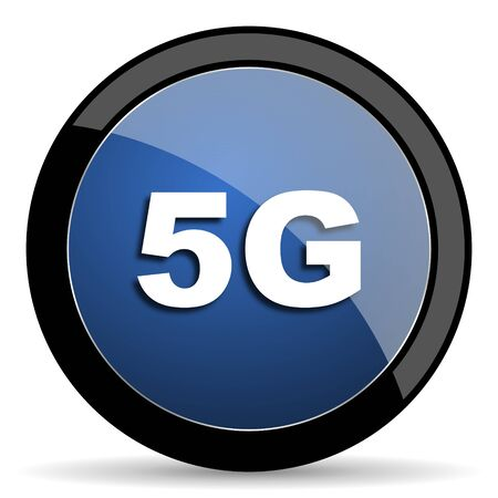 5g: 5g blue circle glossy web icon on white background, round button for internet and mobile app
