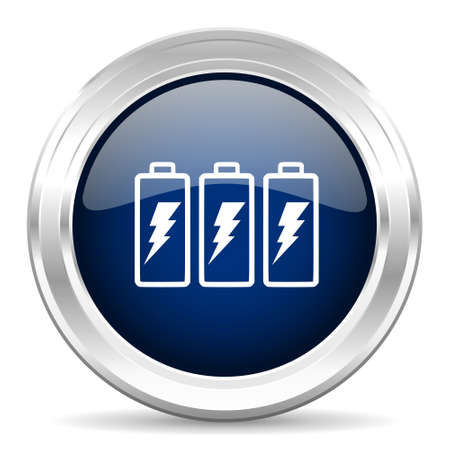accuse: battery cirle glossy dark blue web icon on white background