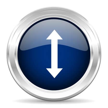 sterring: arrow cirle glossy dark blue web icon on white background Stock Photo
