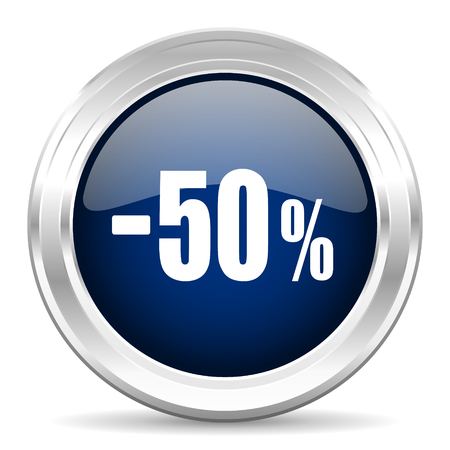 commission: 50 percent sale retail cirle glossy dark blue web icon on white background