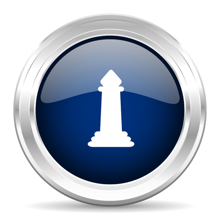 king master: chess cirle glossy dark blue web icon on white background Stock Photo