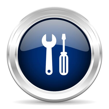 instrumentation: tool cirle glossy dark blue web icon on white background Stock Photo