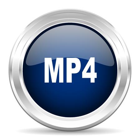 mp4: mp4 cirle glossy dark blue web icon on white background