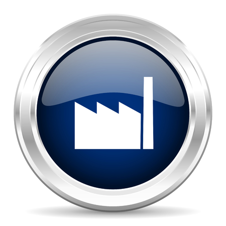 factory cirle glossy dark blue web icon on white background