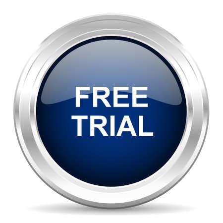 gratuity: free trial cirle glossy dark blue web icon on white background