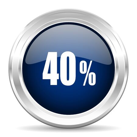 commission: 40 percent cirle glossy dark blue web icon on white background Stock Photo