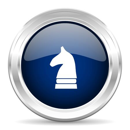 chess horse: chess horse cirle glossy dark blue web icon on white background