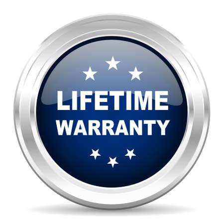 lifetime: lifetime warranty cirle glossy dark blue web icon on white background