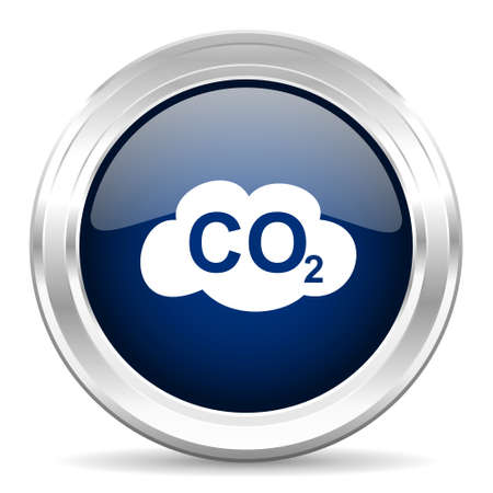 dioxido de carbono: cirle dióxido de carbono brillante icono azul web oscuro sobre fondo blanco Foto de archivo