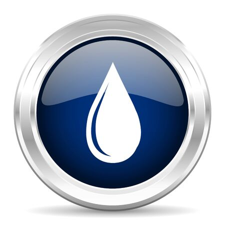 drinkable: water drop cirle glossy dark blue web icon on white background
