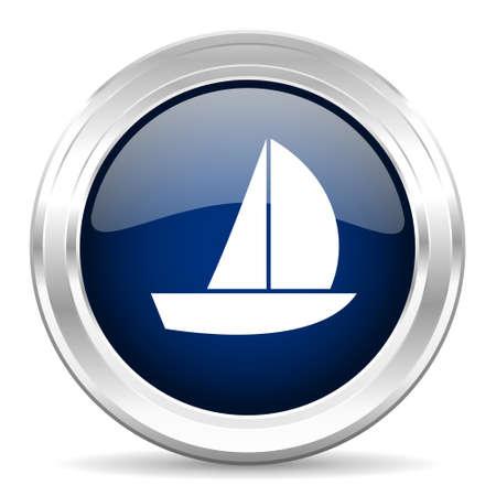button icon: yacht cirle glossy dark blue web icon on white background Stock Photo