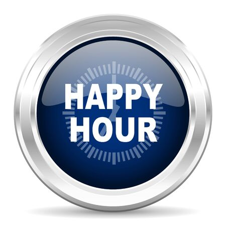 happy hour drink: happy hour cirle glossy dark blue web icon on white background Stock Photo