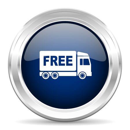 délivrance: livraison gratuite cirle foncé brillant icône bleue web sur fond blanc