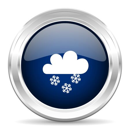 snowing: snowing cirle glossy dark blue web icon on white background