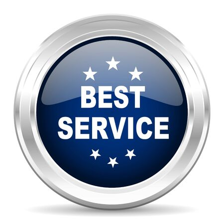 best service: best service cirle glossy dark blue web icon on white background