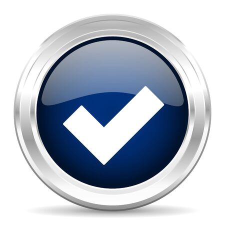 to accept: accept cirle glossy dark blue web icon on white background