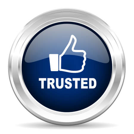 trusted: trusted cirle glossy dark blue web icon on white background Stock Photo