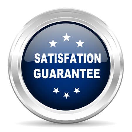satisfaction guarantee: satisfaction guarantee cirle glossy dark blue web icon on white background