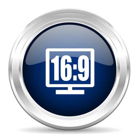 16 9: 16 9 display cirle glossy dark blue web icon on white background