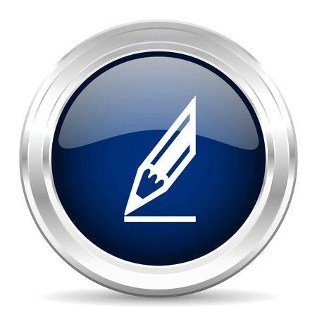 architecture drawing: pencil cirle glossy dark blue web icon on white background