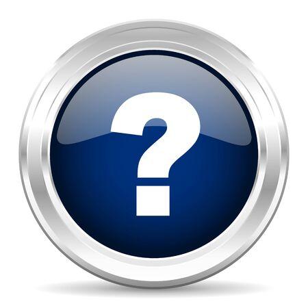Vraagteken cirle glanzend donkerblauw web pictogram op witte achtergrond Stockfoto - 46140852