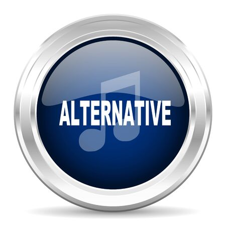 listen live stream: alternative music cirle glossy dark blue web icon on white background Stock Photo